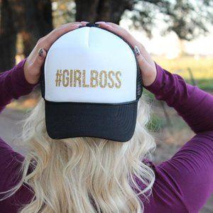 #girlboss Black White Gold Glitter Trucker Hat Cap